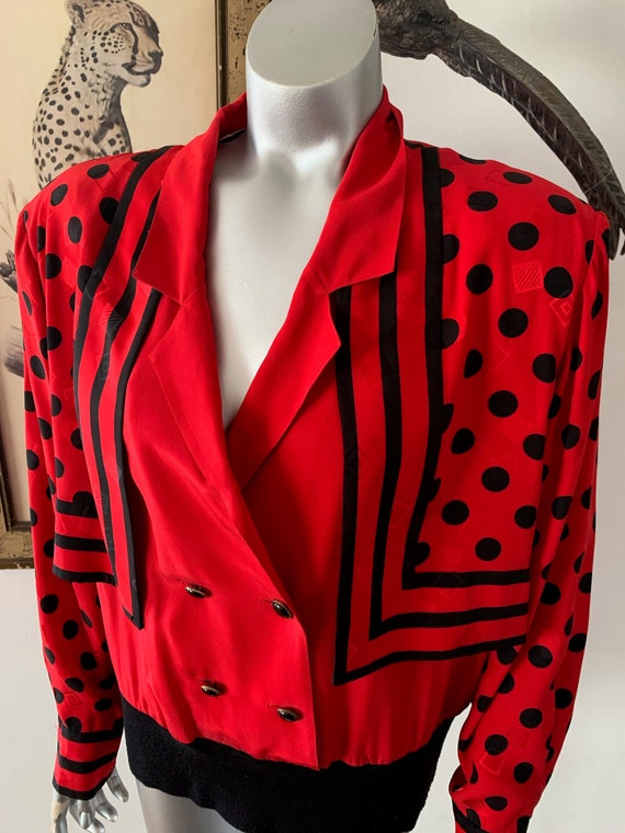 Early 90s Statement Silk Blouse Bright Red Polka D