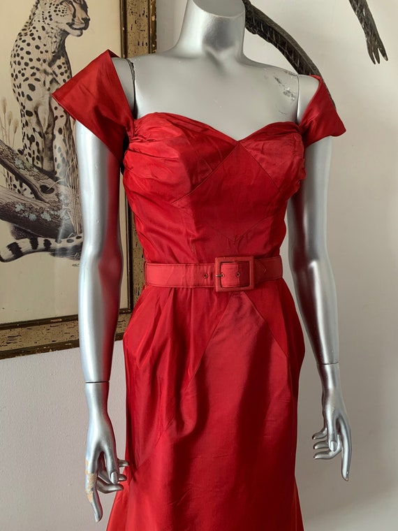 Gorgeous 1950s Off Shoulder Red Party Gown