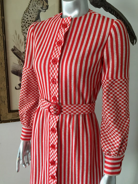 Vintage Joseph Magnin Red and White Striped Shirtd