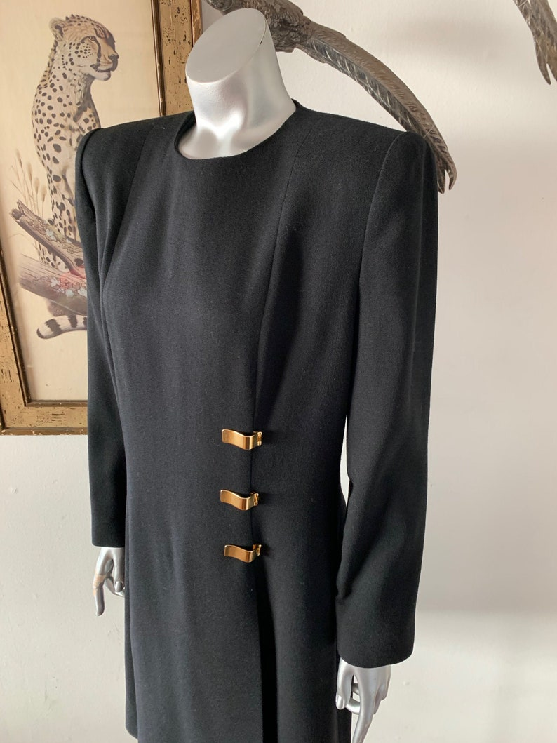 Ilie Wacs Black Wool Dress with Gold Hardware