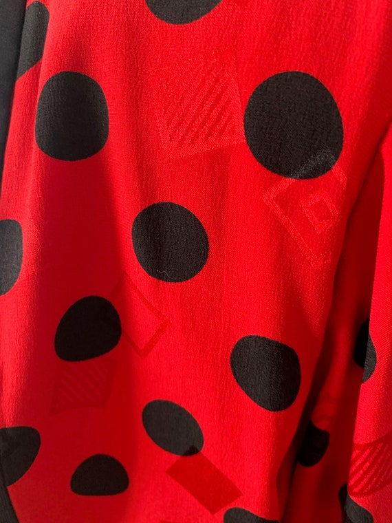 Early 90s Statement Silk Blouse Bright Red Polka … - image 4