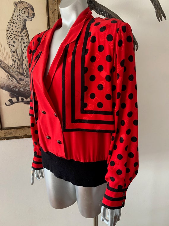 Early 90s Statement Silk Blouse Bright Red Polka … - image 3