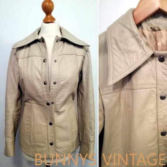 924bfaa9233 SALE Vtg womens 70s 60s cream ivory beige leather jacket mod | Etsy