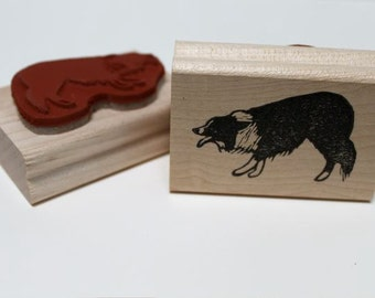 Border Collie Crouch Rubber Stamp