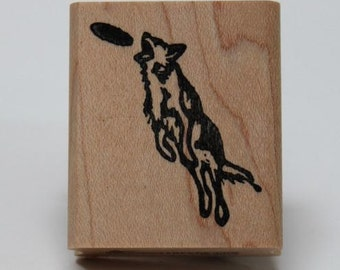 "Border Collie ""Score"" rubber stamp"