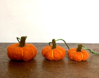 Set of 3 Needle Felted small miniature tiny pumpkin fall autumnal handmade decor decorations halloween