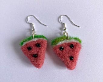Watermelon drop needle felted earrings sterling silver hook