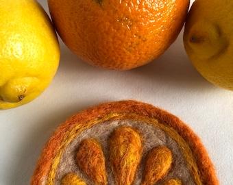 Needle Felted Citrus Orange Slice Brooch Pin Badge