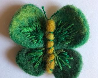 Needle Felted colourful butterfly insect brooch pin badge green emerald embroidered