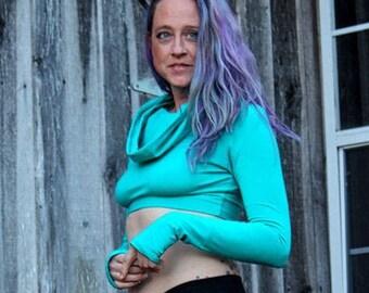 Chloe Crop Top cowl Hoodie Thumbhole sleeve