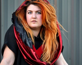Lions Mane Metallic Rave Hood, Infinity scarf, Cowl Hood, Performance Costume, Unisex, Unisexy