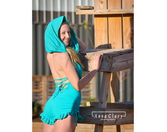 Katie Booty Short Onesie Romper Cowl Hood Open back lace up side gather Fire performance Hooping onesie