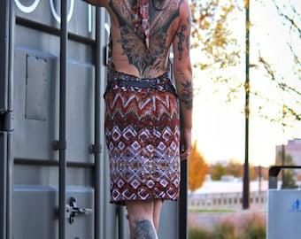 Open Back Convertible Dress, Cowl Hood Halter Dress, Halter Top, Backless Sexy dress, Cowl neck dress, Spaztec Geometry scrolls