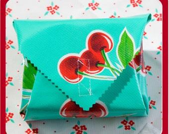 sandwich wrap & liner/napkin *MINT CHERRIES* place mat, cotton napkin, eco, reusable, zero waste lunch, school office picnic lunch bag