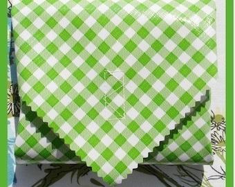 sandwich wrap & liner/napkin *GREEN GINGHAM* reusable, zero waste lunch, cotton napkin, eco, school office picnic lunch bag