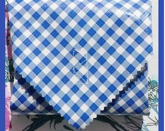sandwich wrap & cotton napkin liner - BLUE GINGHAM - sandwich bag place mat no waste lunch supplies