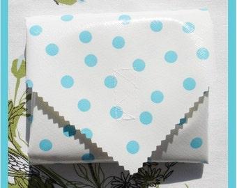 sandwich wrap & liner/napkin *LT BLUE DOTS* place mat, cotton napkin, eco, reusable, zero waste lunch, school office picnic lunch bag