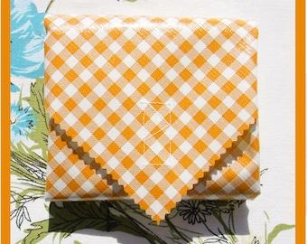 sandwich wrap - cloth napkin - eco - reusable - oilcloth - orange gingham