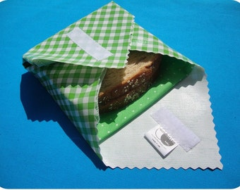 sandwich wrap plus cloth napkin, LIME GREEN GINGHAM eco friendly, zero waste, cotton napkin, lunch wrap