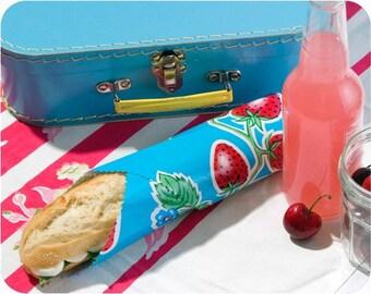 sandwich wrap & liner/napkin *BLUE STRAWBERRIES* place mat, cotton napkin, eco, reusable, zero waste lunch, school office picnic lunch bag