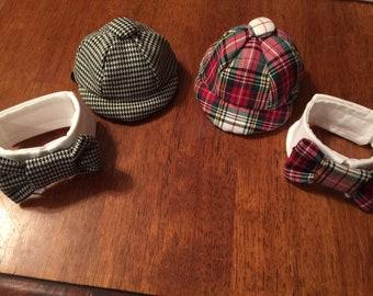Small dog newsboy cap and Bowtie Collar set