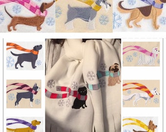 Fleece embroidered scarf for humans - Pug and many other breeds - Both ends embroidered