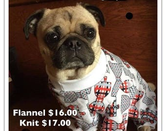 Small Dog Pajamas Custom Sized - Flannel or Knit