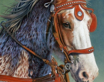 16 by 20 inch limited edition print - Rosebud - Red Roan Clydesdale Horse in Harness