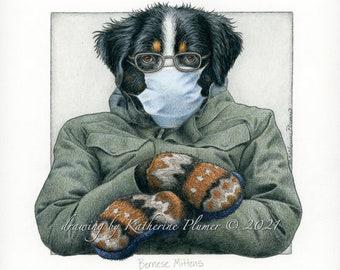 Bernese Mittens - giclee print Bernese Mountain Dog Bernie Sanders mittens meme