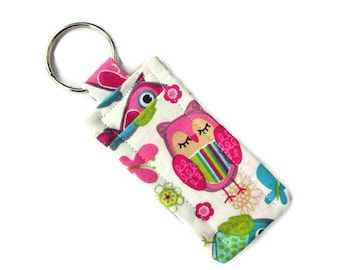 Owl Lip Balm Holder Keychain - Travel Soap Keyring - Cute Adorable Fabric - Gift for Teen - Lip Butter Cozy - Attach Purse Bag - Pink Blue