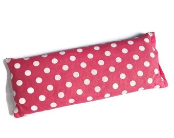 Lavender Eye Pillow - Weighted Eye Mask with Rice and Lavender Buds - Highly Fragrant - Pink with Polka Dots