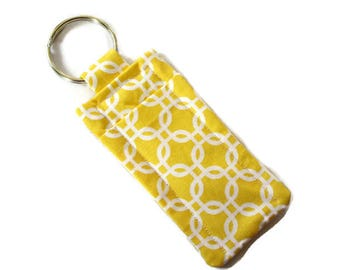 Travel Soap Keyring - Lip Balm Holder - Yellow Fabric - Hand Sewn - Geometric Design Keychain - Pocket Soap Carrier - Lipstick Cozy