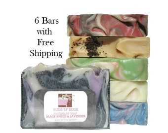 Soap Assortment Variety Pack - Full Sized Bars - Try 6 - Birthday Gift For Her - Discount Soap Deal - Mothers Day Gift - Free Shipping