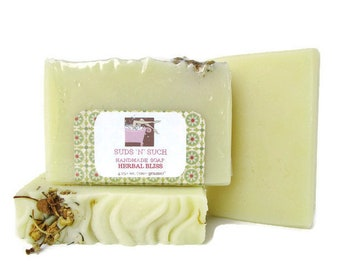 Olive Oil Soap Scented with Herbal Bliss Fragrance - Clean Smelling Scent, with Dried Chamomile on Top