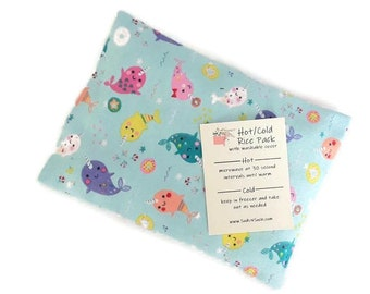 Hot or Cold Rice Pack with Narwhal and Donut Print Flannel Cotton Fabric - Microwave heat pad - Removable/Washable Cover