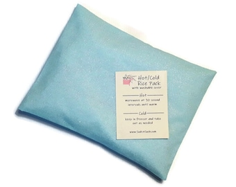 Hot or Cold Rice Pack with Aqua Glitter Cotton Fabric - Microwave heat pad