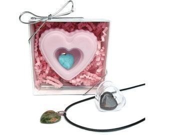 Heart Soap with Jewelry Surprise Inside - Pink Heart Scented in Cherry Almond with Necklace