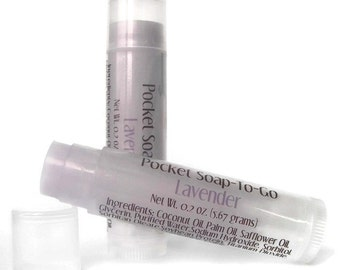 Lavender Travel Soap - Mini Soap in a Lip Balm Tube - Made with Lavender Essential Oil - Vegan Soap - Travel Sized - Purse Sized
