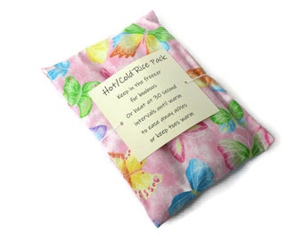 Hot or Cold Rice Pack with Butterfly Print Cotton Fabric - Microwave heat pad