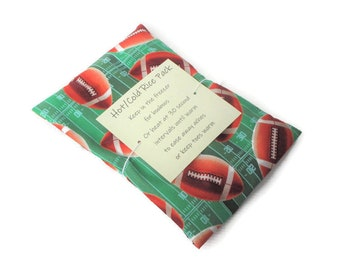 Hot or Cold Rice Pack with Football Print Cotton Fabric - Microwave heat pad - Removable/Washable Cover