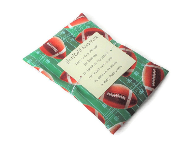 Hot or Cold Rice Pack with Football Print Cotton Fabric  image 0