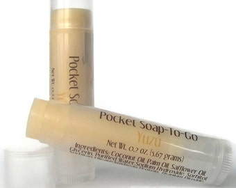 Yuzu Travel Soap - Soap in a Lip Balm Tube - Mini Soap - Gift for Traveler - Japanese Citrus Fruit - Purse Sized - Vegan Soap - Gift for Mom