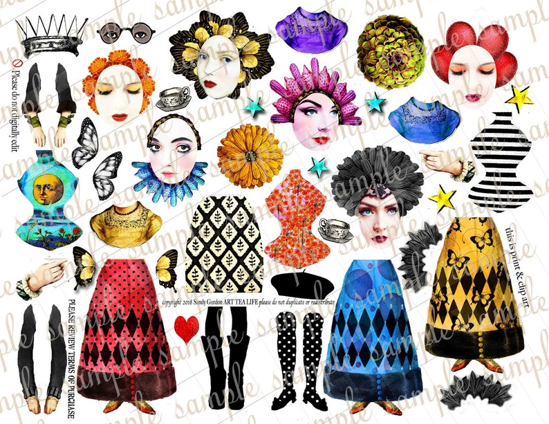 ART TEA LIFE Star Queen Paper Dolls Collage Sheet Journal Parts digital file printable download decoupage scrapbook gift tags cards crapbook