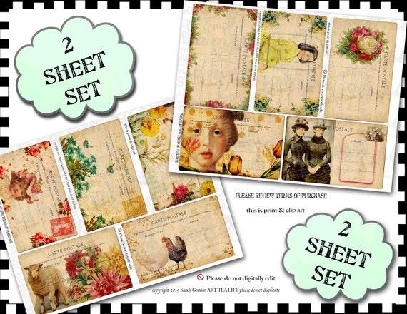 ART TEA LIFE Mini Postcards Gift Tag Collage 2 Sheet Set Scrapbook Journal digital file printable download decoupage card making victorian
