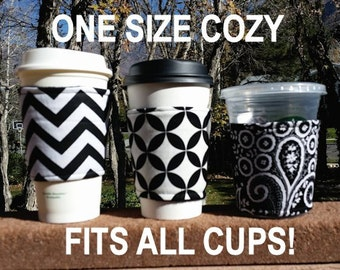 Hot or Iced Coffee cozy / cup sleeve / coffee sleeve / resuable coffee cup holder / teacher gift / Black or White + Whatever You Like!