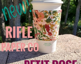 Hot or Iced Fabric coffee cozy / cup sleeve / coffee sleeve  / Rifle Paper Co Flowers Petit Rose Garden Party -- Flat Shipping