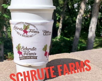 Hot or Iced Fabric coffee cozy / cup sleeve / coffee sleeve / coffee cup holder / Dwight Schrute Farms The Office