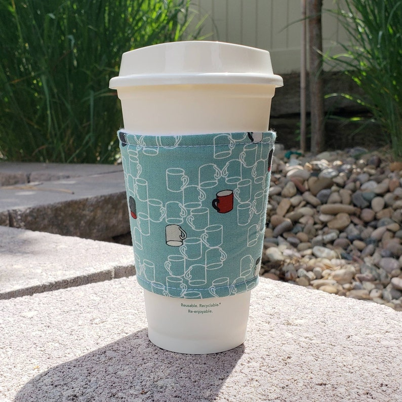 Hot or Iced Fabric coffee cozy / cup sleeve / coffee sleeve  / image 0