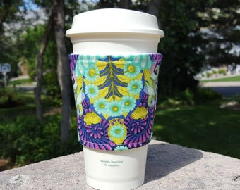 FREE SHIPPING UPGRADE with minimum -  Fabric coffee cozy / cup sleeve / coffee drink sleeve / Tula Pink Purple and Green