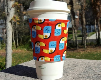 Fabric coffee cozy / coffee cup holder / coffee sleeve -- TOUCANS on red